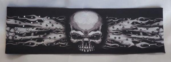 Flame Skull Bandana with Black Swarovski Crystals (Sku1528)