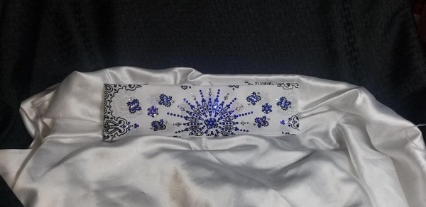 LeeAnnette White with Blue and Clear Crystals