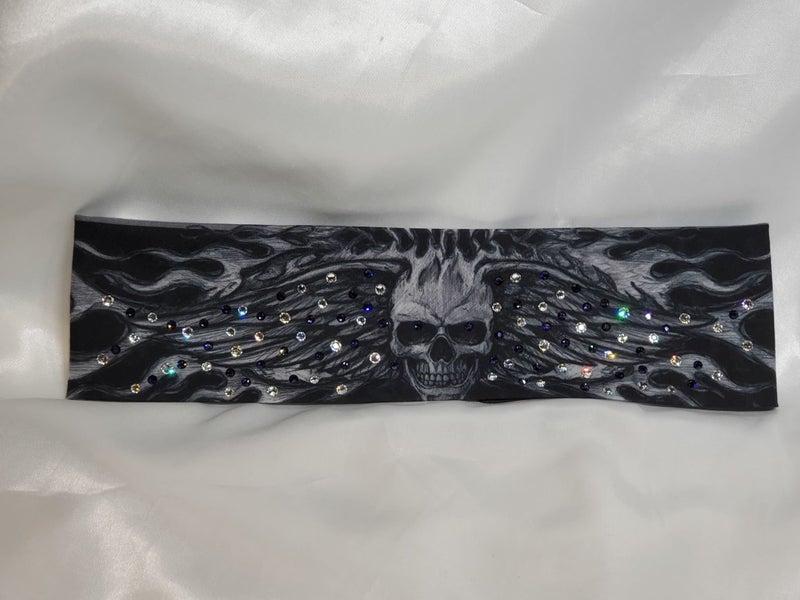 Wing Skull with Dark Purple and Diamond Clear Swarovski Crystals (Sku1567)