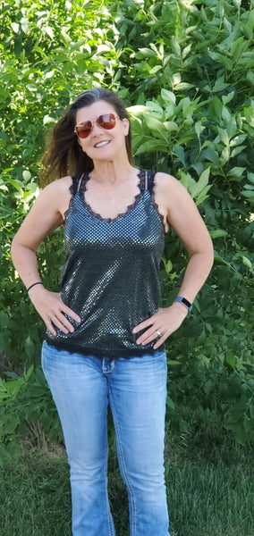 Black and Silver Sleeveless Top with Lace