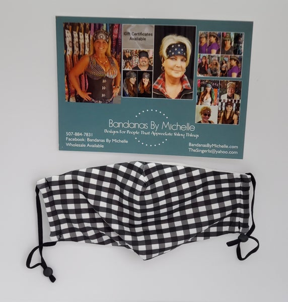 Sassy and Stylish Black and White Gingham Face Mask (sku5936) *Final Sale*