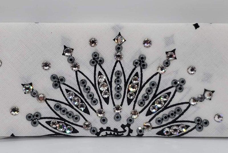 Narrow White Paisley with Black and Diamond Clear Swarovski Crystals (Sku2040)