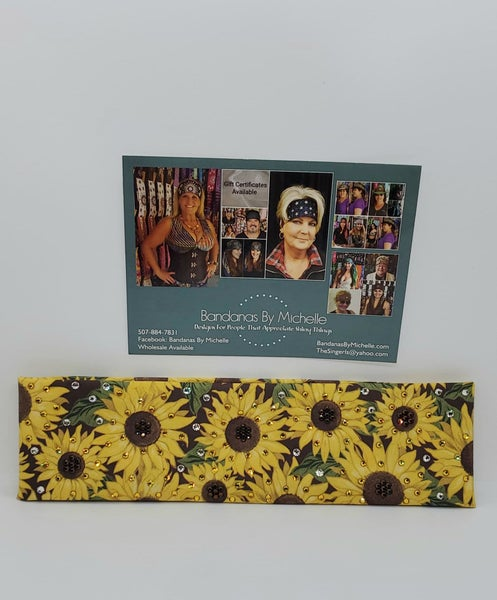 Sunflower With extra bling - Yellow, Brown and Diamond Clear Swarovski Crystals (Sku3001)