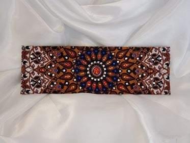 Mustard Indian with Orange, Blue and Diamond Clear Swarovski Crystals (Sku1310)