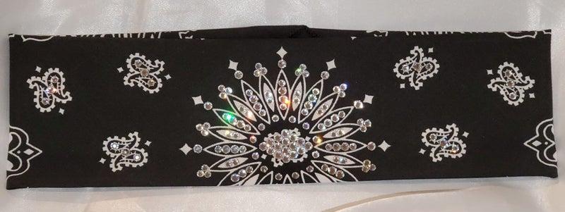 Black Paisley with Diamond Clear Swarovski Crystals (Sku1915)