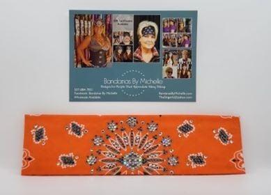 LeeAnnette Orange Paisley with Black and Diamond Clear Swarovski Crystals (Sku4257)