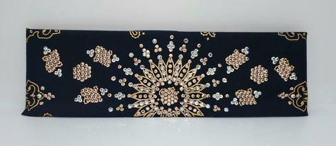 LeeAnnette Gold Paisley on Black with Rose Gold and Diamond Clear Crystals (Sku4366)