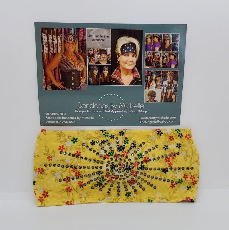 Stretchy Headband Yellow Polka Dot Floral With Smoke Diamond Crystal Rhinestones (Sku5001)