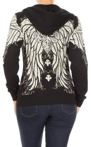 Black Hoody with Stones in Regular and Plus sizes