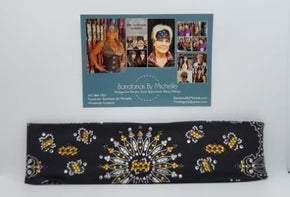 LeeAnnette Black Paisley with Yellow, Purple and Diamond Clear Swarovski Crystals (Sku4363)