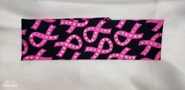 Black and Pink Breast Cancer with Diamond Clear Swarovski Crystals (Sku1422)