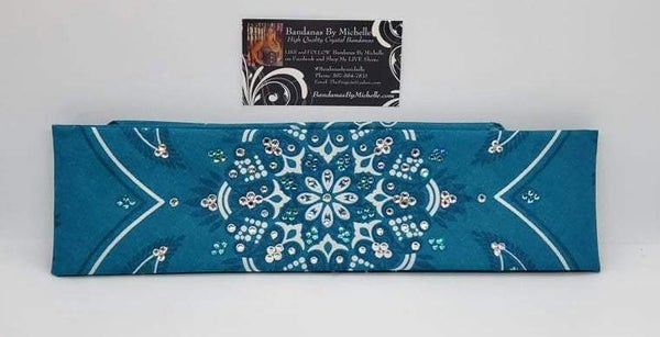 Teal Floral Design with Teal and Diamond Clear Austrian Crystals (Sku6009)