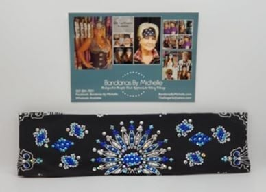 LeeAnnette Black Paisley with Blue, Turquoise and Diamond Clear Swarovski Crystals (Sku4461)