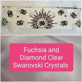 White Paisley with Fuchsia and Diamond Clear Swarovski Crystals (Sku2019)
