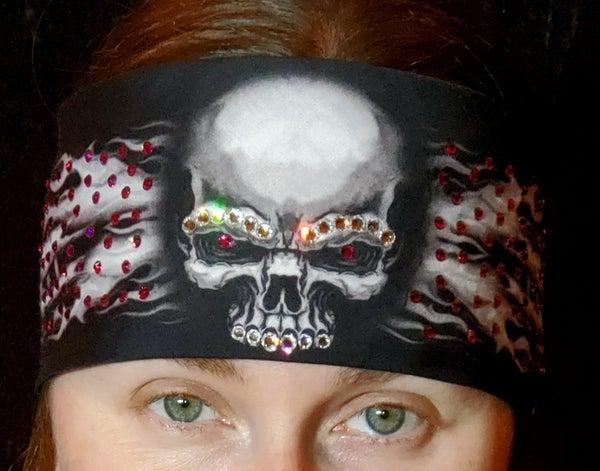 Flame Skull Bandana with Fuchsia Swarovski Crystals (Sku1527)