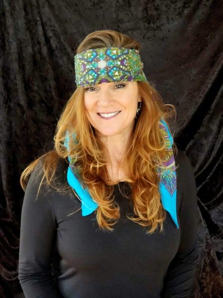 Long Turquoise Scarf with Swarovski Crystals (Sku3012)