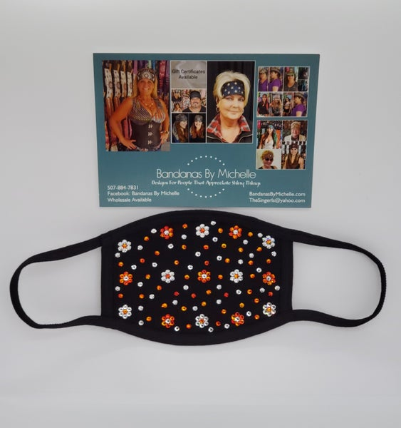 Face Masks EXTRA BLING Floral Pattern Orange and Clear Crystals *Final Sale* (Sku5907)