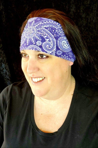 Stretchy Purple Sun Spiral Headband with Aurora Borealis Crystals (Sku5100)