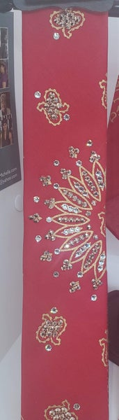 Narrow Gold Paisley on Red with Rose Gold Swarovski Crystals (Sku2042)