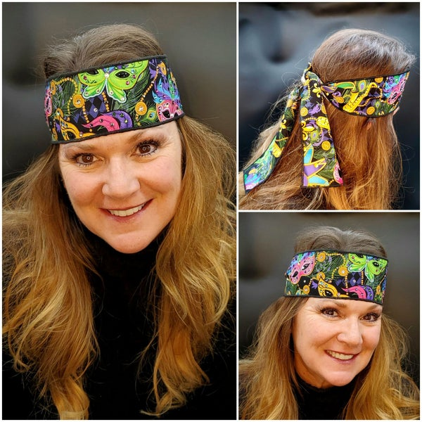 Mardi Gras Mask Headband Strip with Multi-Colors of Swarovski Crystals (Sku5508)