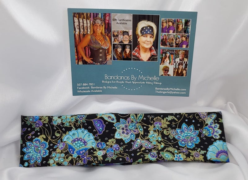 Purple and Blue Flowers on Black with Purple, Turquoise and Diamond Clear Swarovski Crystals ( Sku6006)