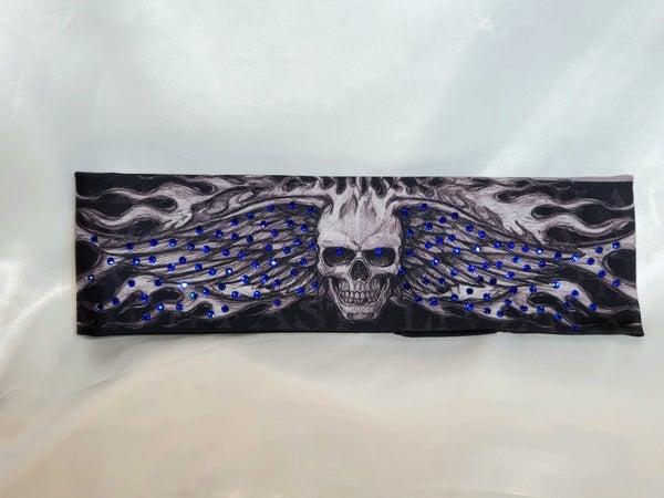 Wing Skull with Blue Swarovski Crystals (Sku1558)