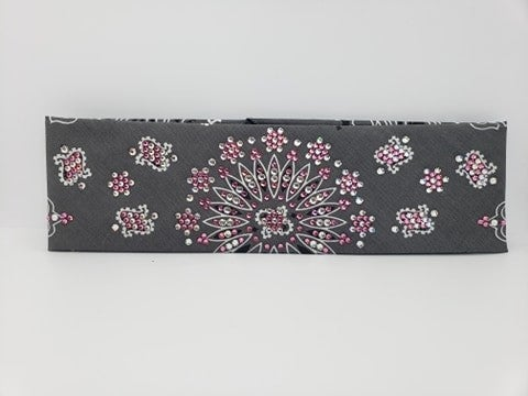 LeeAnnette Charcoal Paisley with Rose and Diamond Clear Swarovski Crystals (Sku4906)