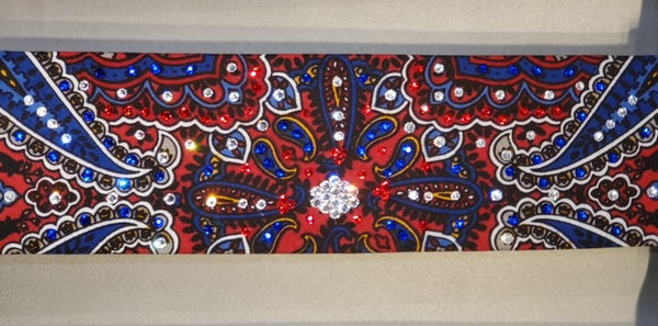 Red Blue and Grey Indian design bandana with red clear and blue Swarovski crystals (Sku1407)