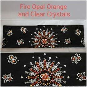 Black  Paisley With Fire Opal Orange And Diamond Clear Swarovski Crystals (Sku1930)