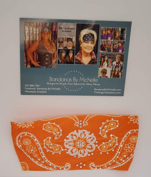 Stretchy Orange Flower Headband With Diamond Clear Austrian Crystals (Sku5081)