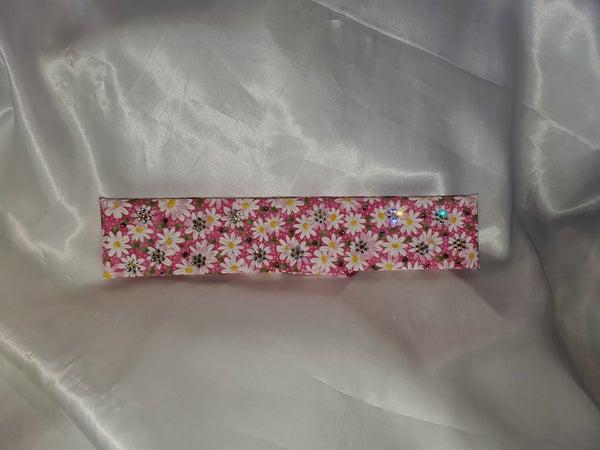 Narrow Pink and White Pattern Bandana with Pink, Yellow and Clear Swarovski Crystals(Sku1782)