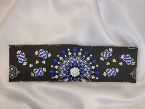 LeeAnnette Black Paisley with Blue and Diamond Clear Swarovski crystals (Sku4356)