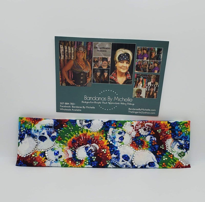 LeeAnnette Tie Dye Skulls Bandana with Multiple Colors of Swarovski Crystals (Sku4020)