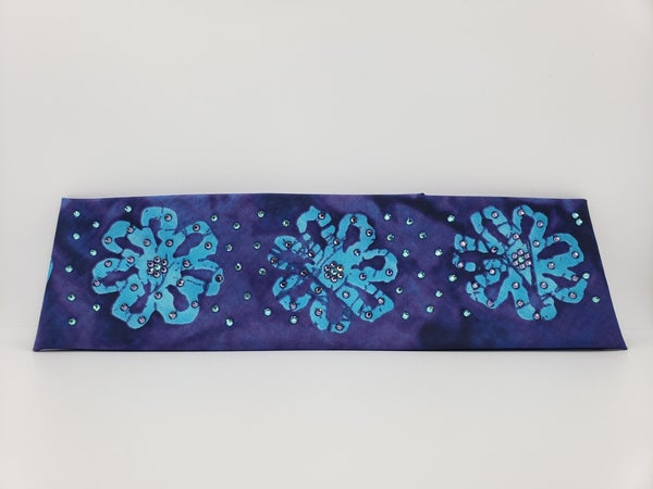 Purple and Turquoise Batik with Purple and Turquoise Swarovski Crystals (Sku9931)