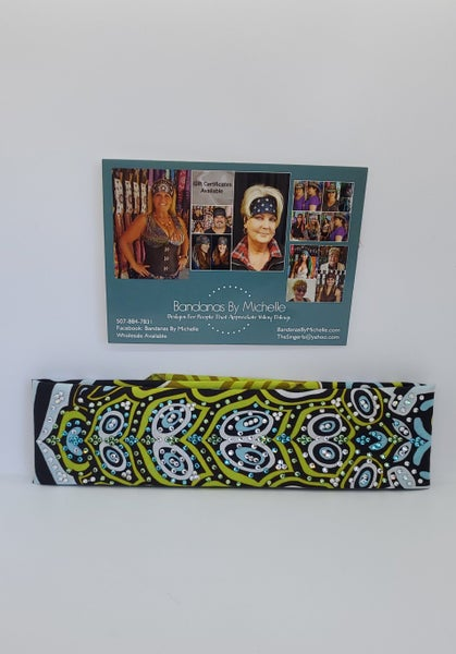 LeeAnnette Turtle Bandana With Turquoise,  Light Green and Diamond Clear Swarovski Crystals (4712)