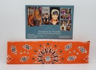 LeeAnnette Orange Paisley with Black and Diamond Clear Swarovski Crystals (Sku4255)