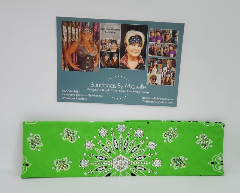 Lime LeeAnnette Bandana with AB and peridot green crystals (sku4064)