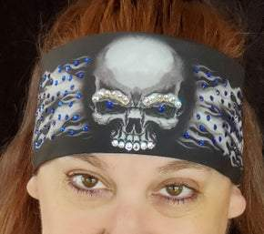 Flame Skull Bandana with Blue Swarovski Crystals (Sku1500)