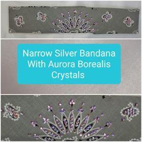Narrow Silver Paisley with Aurora Borealis Swarovski Crystals (Sku2110)