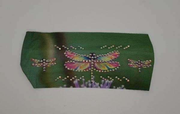 Stretchy Headband Green Dragonfly with Aurora Borealis Crystals (Sku5137)