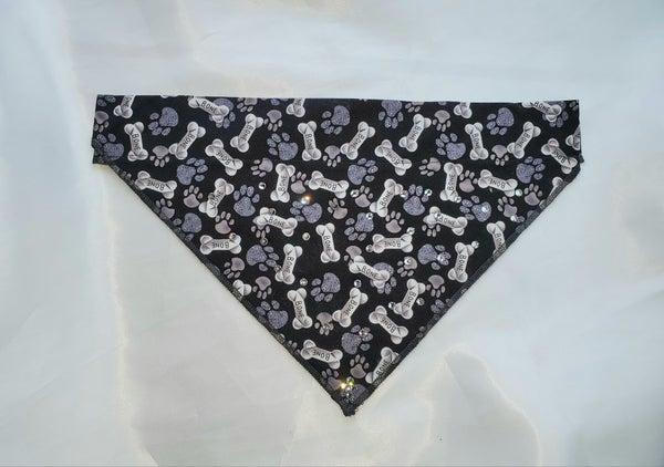 Medium Doggy Dana Black with Bones with Crystals