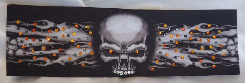 Flame Skull Bandana with Black and Orange Swavorski Crystals (Sku1523)