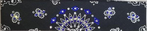 Narrow Black Paisley with Blue and Diamond Clear Swarovski Crystals in Diamond Pattern (Sku2062)