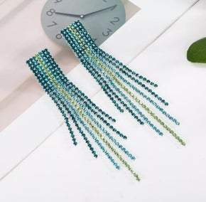 Turquoise Tassel Rhinestone Pierced Earrings (sku8303)