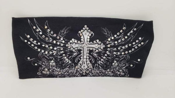 Stretchy Headband Wing Cross with Clear Crystals (Sku5128)
