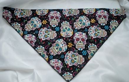 Large Doggy Dana Sugar Skulls on Black with Crystals