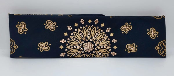 Gold Paisley on Black with Rose Gold Swarovski Crystals (Sku2048)
