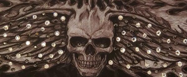 Wing Skull with Black and Diamond Clear Swarovski Crystals (Sku1580)