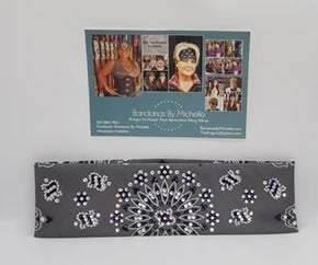 LeeAnnette Charcoal Paisley with Purple and Diamond Clear Swarovski Crystals (Sku4512)