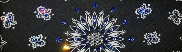 Black Paisley with Blue and Diamond Clear Swarovski Crystals (Sku1900)
